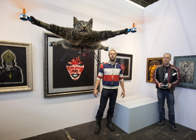 catitcopter cat taxidermy helicopter