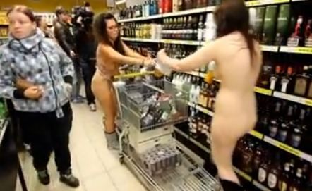 [NSFW] Shoppers Strip Down For Free Groceries