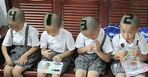 Chinese Mom Uses Numbers Shaved In Hair to Tell Her Kids Apart